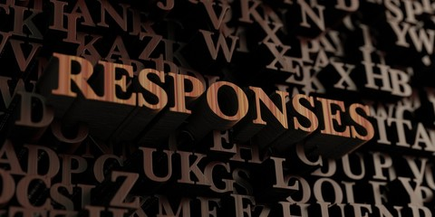 Responses - Wooden 3D rendered letters/message.  Can be used for an online banner ad or a print postcard.