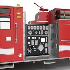 equipment of a modern fire engine on White. 3D illustration