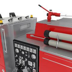 Firetruck equipment on White. 3D illustration
