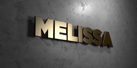 Melissa - Gold sign mounted on glossy marble wall  - 3D rendered royalty free stock illustration. This image can be used for an online website banner ad or a print postcard.
