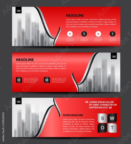 Red Banner Template Vector Horizontal Banner Brochure Flyer - Horizontal brochure template