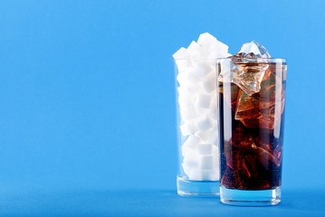 glass of soda water and sugar