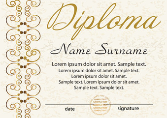 Diploma or certificate template. Award winner. Reward. Winning the competition. Elegant gold frame with an ornament. Vector illustration.