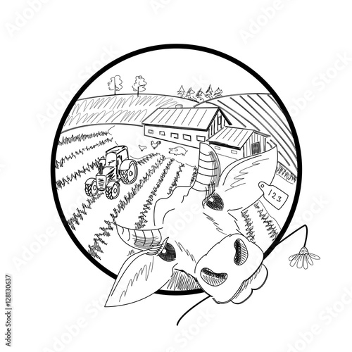 Hand Drawn Doodle Landscape With Farm Fields Tractor Hen Rooster
