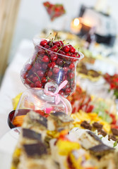 rich many fresh fruits on luxury wedding table at the reception.