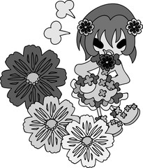 A cute little girl in anger and the flowers of cosmos