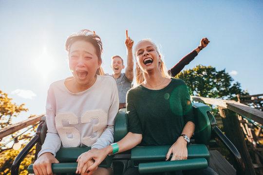 Enthusiastic young friends riding amusement park ride