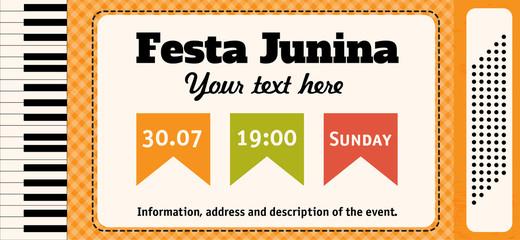Festa Junina illustration - traditional Brazil June festival party. Vector illustration. Accordion.