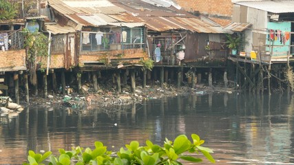 Slum on the river. Saigon. Vietnam.