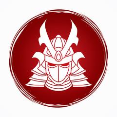 Samurai mask designed on grunge circle background graphic vector.