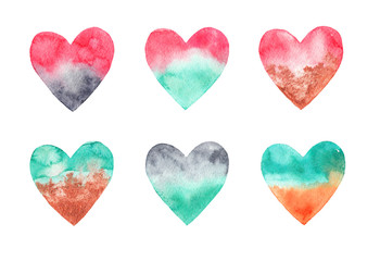 Set of watercolor hearts on white isolated background