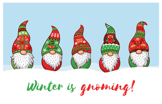 Winter is Gnoming. Card with Christmas gnomes in red hat