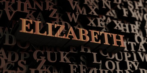 Elizabeth - Wooden 3D rendered letters/message.  Can be used for an online banner ad or a print postcard.
