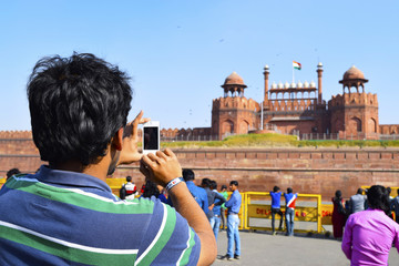 Photographing Red Fort, New Delhi