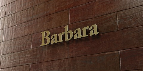 Barbara - Bronze plaque mounted on maple wood wall  - 3D rendered royalty free stock picture. This image can be used for an online website banner ad or a print postcard.