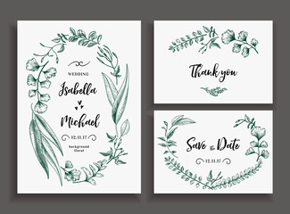 Set of wedding cards with leaves and herbs.