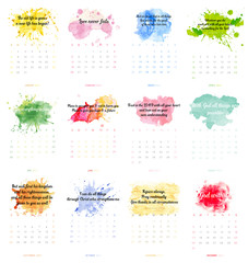 Christian bible verse 2017 calendar with colorful paint theme on white background