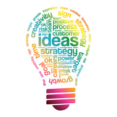 Ideas Sphere Bulb Words Cloud, business concept