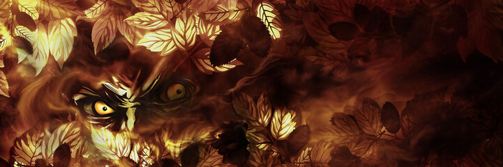 Evil look banner. Illustration evil eyes looking from the autumn leaves