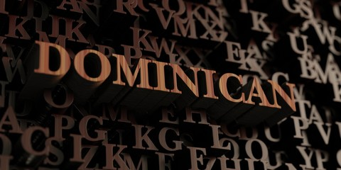 Dominican - Wooden 3D rendered letters/message.  Can be used for an online banner ad or a print postcard.