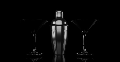 3d rendering metal shaker and cocktail glass on black background