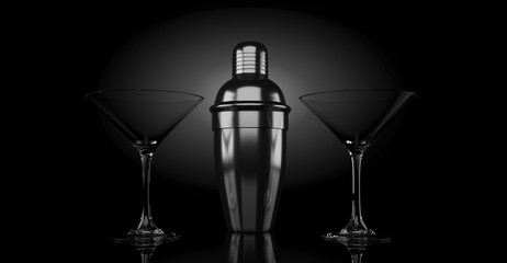 3d rendering metal shaker and cocktail glass backlight on black background