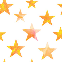 Seamless pattern with gold and pink watercolor stars on white background.