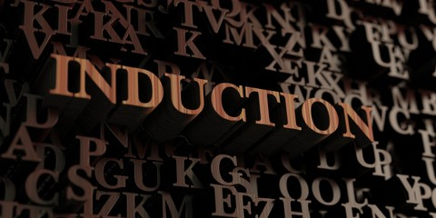Induction - Wooden 3D rendered letters/message.  Can be used for an online banner ad or a print postcard.