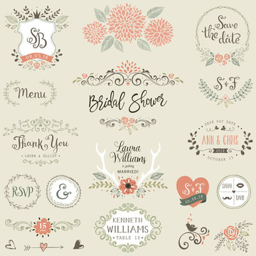 Hand drawn Bridal Shower and Wedding collection with typographicdesign elements.