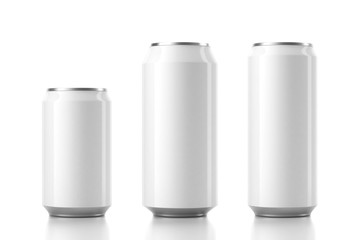 Three Aluminum Can Mockup in different sizes. 3d rendering