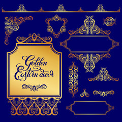 set of floral golden eastern decor frame elements, paisley patte