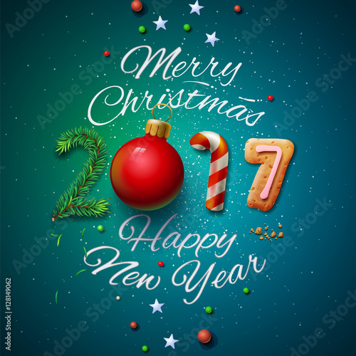 merry christmas and happy new year 2017 greeting card