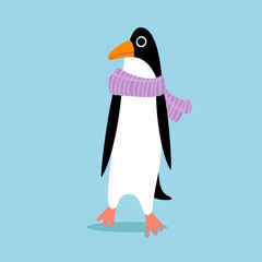 Cartoon penguin on skates. Vector penguin wearing a hat. Element for New Year and Christmas design. Vector illustration.