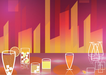 Retro Cocktail Party Poster Background - Vector Illustration
