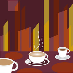 Coffee on cafe table Background - Vector Illustration
