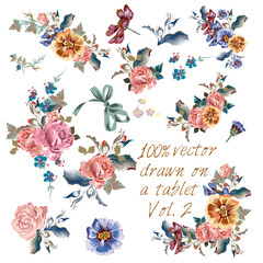 Collection of vector hand drawn flowers in watercolor classic st