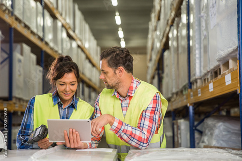 """""""Man and a woman have short meeting in a warehouse and ..."""