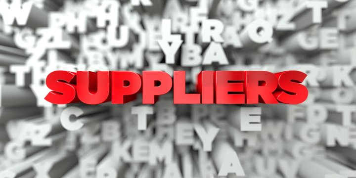 SUPPLIERS -  Red text on typography background - 3D rendered royalty free stock image. This image can be used for an online website banner ad or a print postcard.