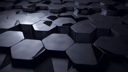 Wall Mural - displaced dark metal hexagon shape background 3d render