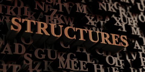 Structures - Wooden 3D rendered letters/message.  Can be used for an online banner ad or a print postcard.