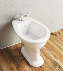 Bidet da bagno bianco in ceramica render 3d