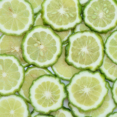 Prepared fresh bergamot slice for background and texture