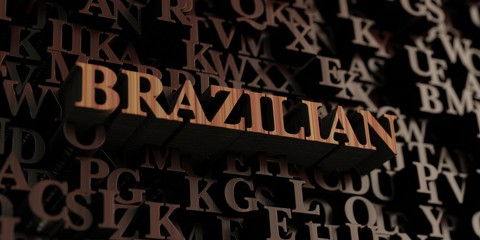 Brazilian - Wooden 3D rendered letters/message.  Can be used for an online banner ad or a print postcard.