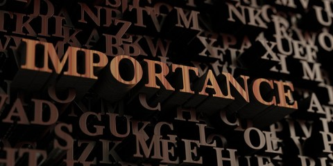 Importance - Wooden 3D rendered letters/message.  Can be used for an online banner ad or a print postcard.