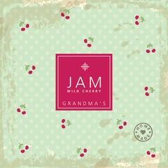 Jam label cherries. Design element.