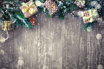Wall Mural - Christmas background with decorations and gift boxes