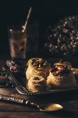 Syrian pastry dessert on dark background