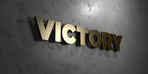 Victory - Gold sign mounted on glossy marble wall  - 3D rendered royalty free stock illustration. This image can be used for an online website banner ad or a print postcard.