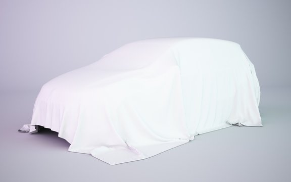 3d rendering covered car white fabric illustration