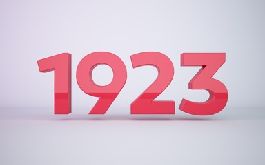3d rendering red year 1923 on white background